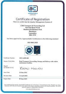 ISO 9001 CSH Transport Accreditation
