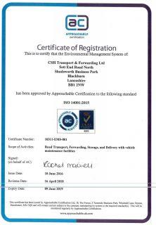 ISO 14001 CSH Transport Accreditation